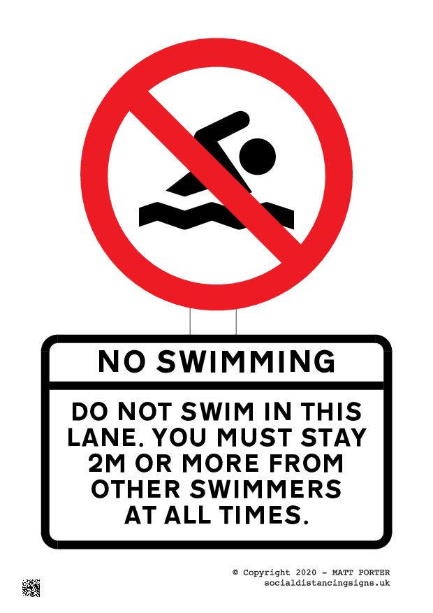 Do Not Swim in this lane - Social Distancing Poster - Sign Maker