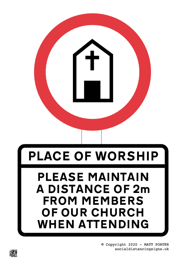 Social Distancing Signs for Place of Worship / Church / Cathedral - Sign Maker