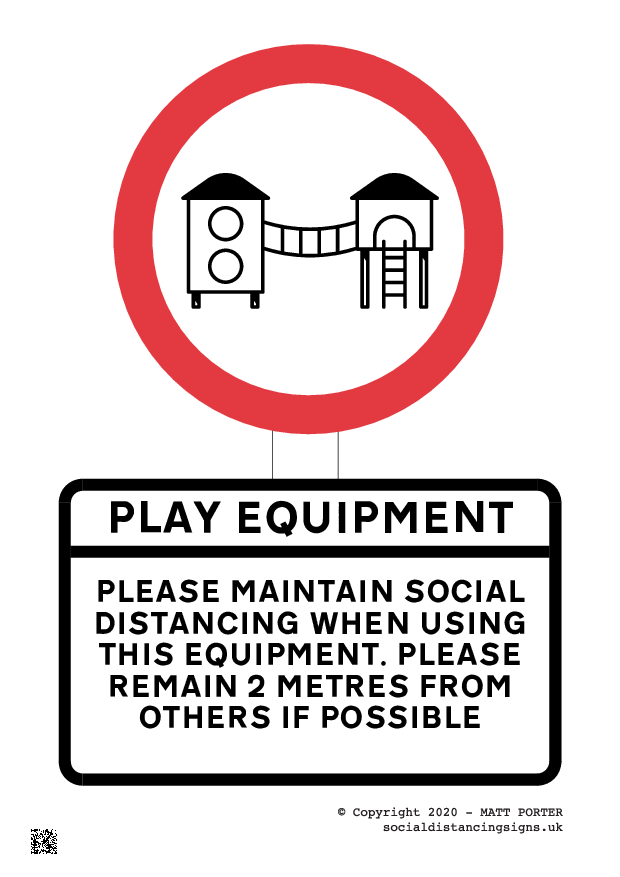 Please Social DIstancing Whilst at this Playground - Poster and Sign Maker for Download