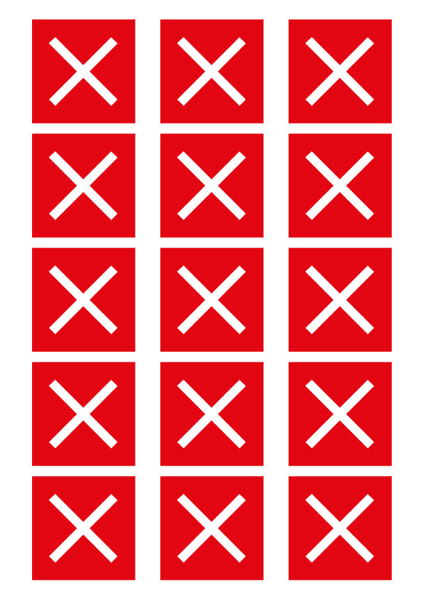 "51mm ""Do Not Sit Here"" - Red Cross - House of Commons style Square Stickers"