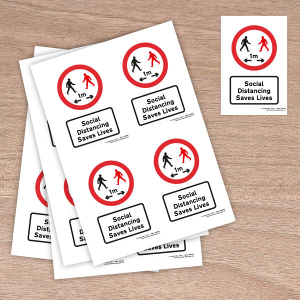 Social Distancing Saves Lives Stickers 1 metre