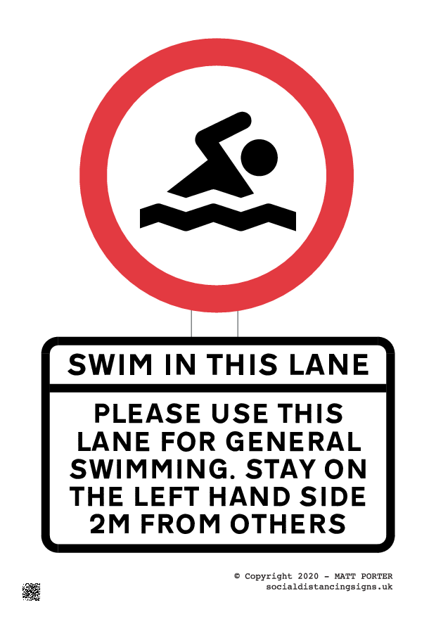 Swim in this lane - Social Distancing Poster Maker