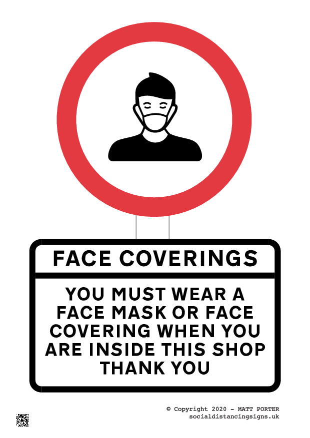 Social Distancing - New UK Facemask / Face Covering Rules for shops and public transportt - Printable Sign Maker