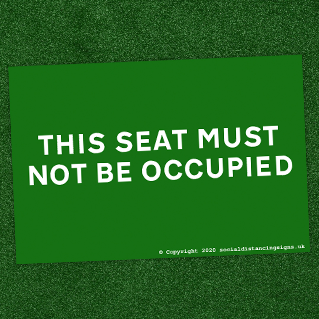 This Seat Must Not Be Occupied Seating Warning Stickers for Cinema, Theatre or Auditoriums