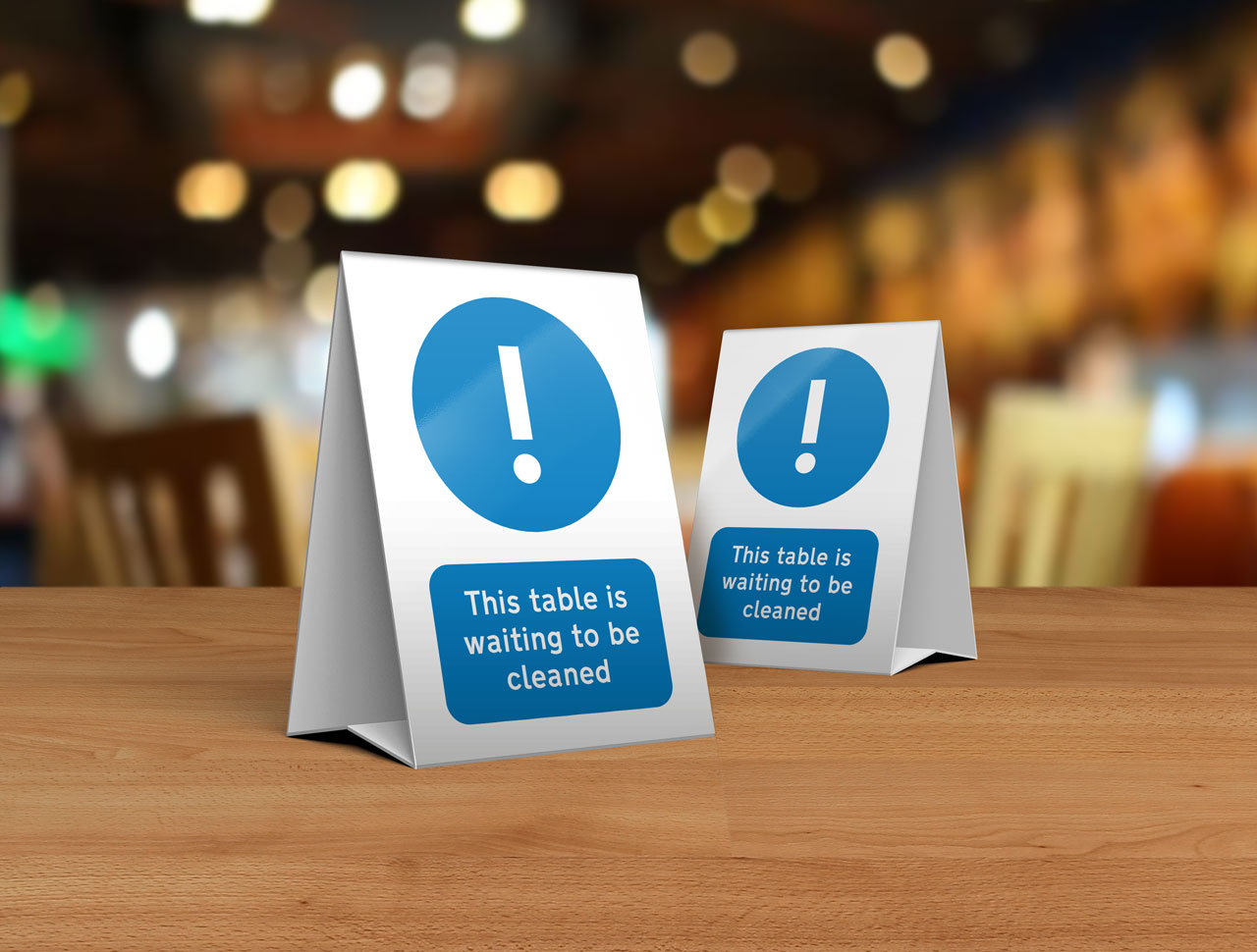 Please Clean This Table Tent Card for Restaurants, Cafes and Pubs