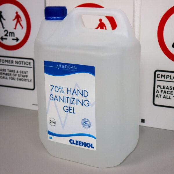 Cleenol Medisan Clinical Range 70% Hand Sanitizing Gel - 5 Litres - 2 Pack