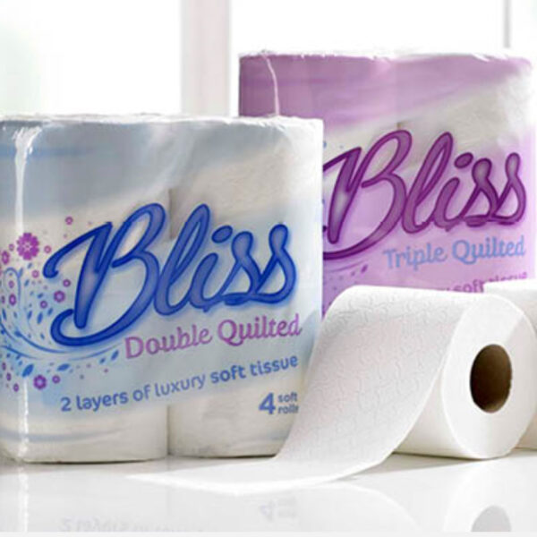 The Bliss brand is a premium range of 2 or 3 ply quilted toilet tissue that delivers excellent performance. Bliss products are laminated and micro-embossed. This high quality product has a softer and stronger sheet allowing greater absorption and softness for use at home and in workplace washrooms.