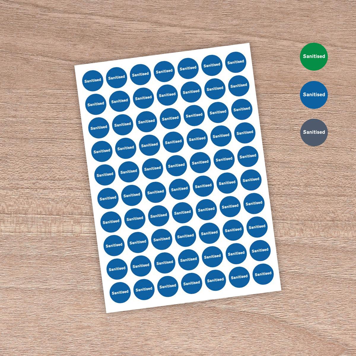 """25mm """"Sanitised"""" - Table / Desk / Workstation / Door - Information Stickers - Sign Blue"""
