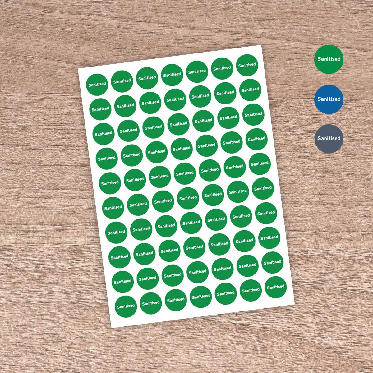 """25mm """"Sanitised"""" - Table / Desk / Workstation / Door - Information Stickers - Sign Green"""