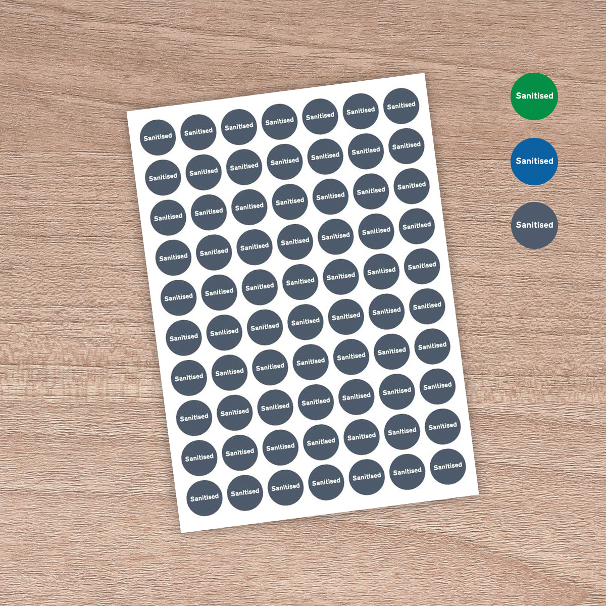 "25mm ""Sanitised"" - Table / Desk / Workstation / Door - Information Stickers - Stiff Blue"