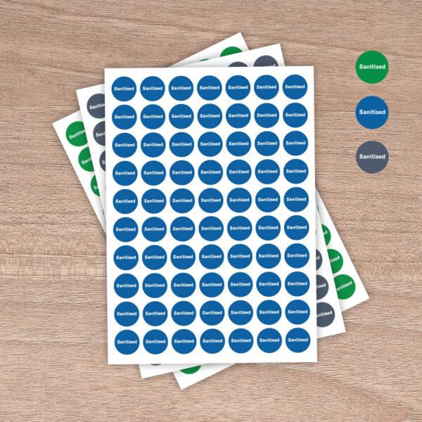 "25mm ""Sanitised"" - Table / Desk / Workstation / Door - Information Stickers - 3 colours"